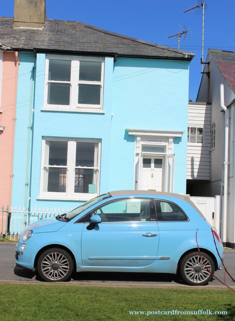 Blue car in Suffolk